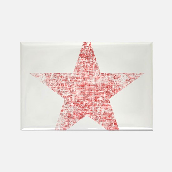 Faded Red Star Rectangle Magnet