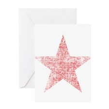 Faded Red Star Greeting Card