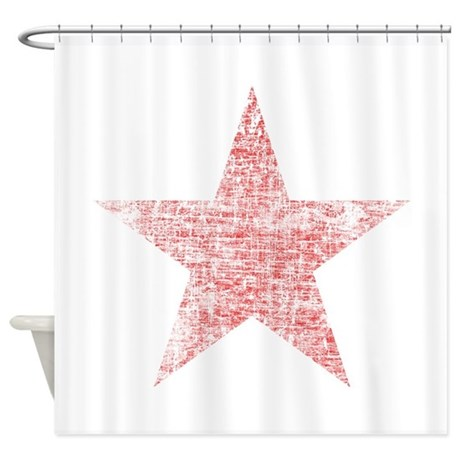 Faded Red Star Shower Curtain By Nationalfashion