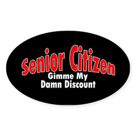Senior Citizen Discount Oval Sticker