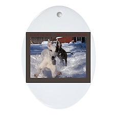 Greyhound Snow Fun Oval Ornament