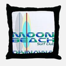 Moon Beach Surf Club Throw Pillow