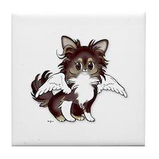 Chocolate Long Chihuahua Angel Tile Coaster