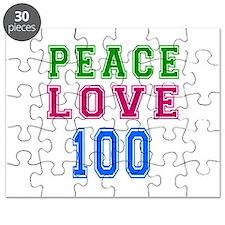 Peace Love 100 birthday designs Puzzle