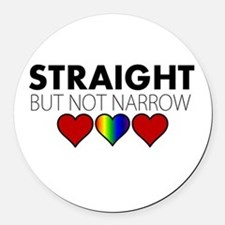 STRAIGHT but not narrow Round Car Magnet