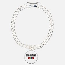 STRAIGHT but not narrow Charm Bracelet, One Charm