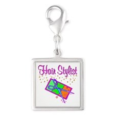 TOP HAIR STYLIST Silver Square Charm