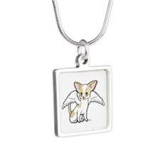 Norman Chihuahua Angel Silver Square Necklace