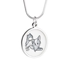 Blu Faun Chihuahua Angel Silver Round Necklace