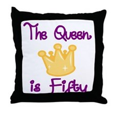 THE QUEEN IS FIFTY 4 Throw Pillow