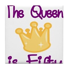 THE QUEEN IS FIFTY 4 Tile Coaster
