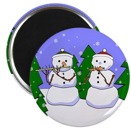 """Flute & Piccolo Snowmen 2.25"""" Magnet (10 pack)"""