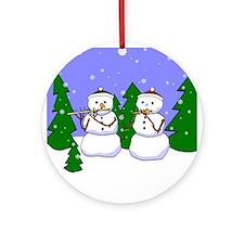 Flute & Piccolo Snowmen Ornament (Round)