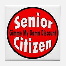 Senior Citizen Discount Tile Coaster