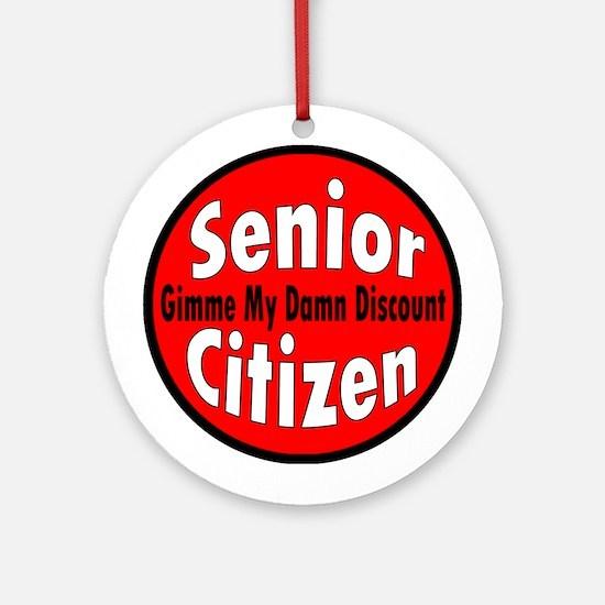 Senior Citizen Discount Ornament (Round)