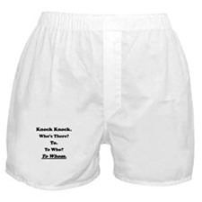 To Whom Knock Knock Joke Boxer Shorts