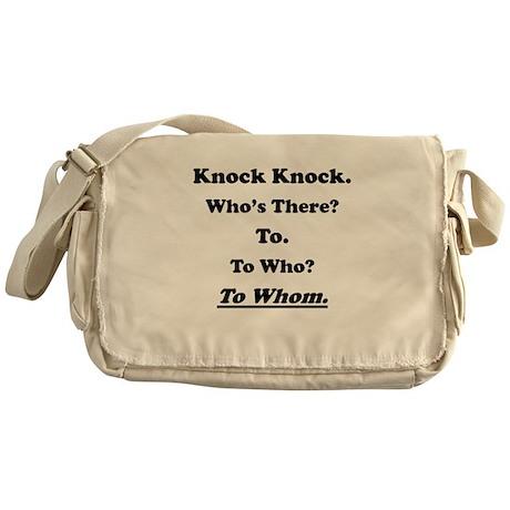 To Whom Knock Knock Joke Messenger Bag