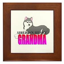 Gray Siberian Husky Grandma Framed Tile