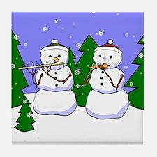 Flute & Piccolo Snowmen Tile Coaster
