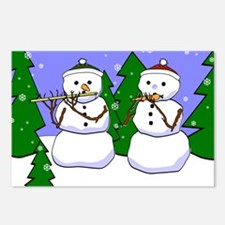 Flute & Piccolo Snowmen Postcards (Package of 8)