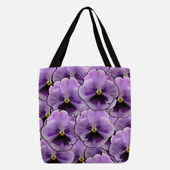 Pansy Patch Polyester Tote Bag