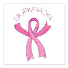 Breast Cancer Survivor Ribbon Square Car Magnet 3""