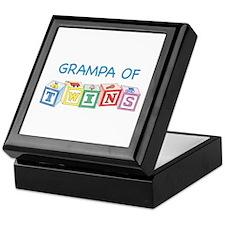 Grampa of Twins Blocks Keepsake Box