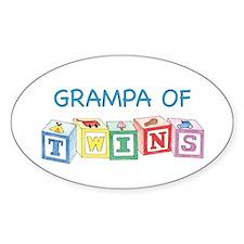 Grampa of Twins Blocks Oval Decal
