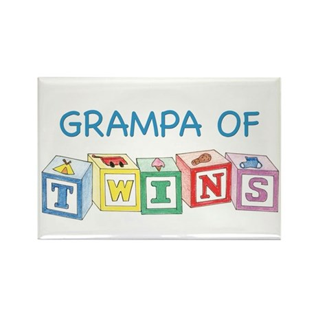 Grampa of Twins Blocks Rectangle Magnet
