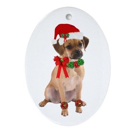 Christmas Puggle Oval Ornament