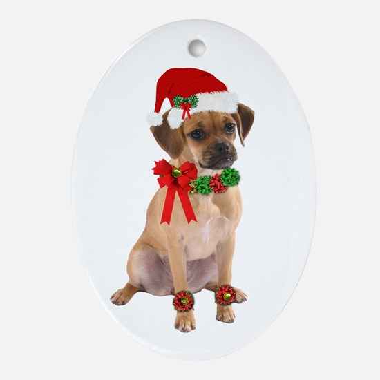 Christmas Puggle Oval Ornament