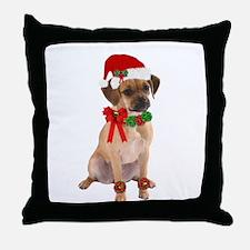 Christmas Puggle Throw Pillow