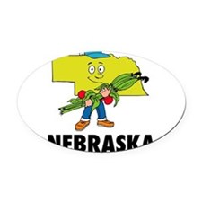 Nebraska Oval Car Magnet