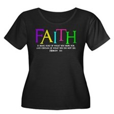 neon multi, Hebrew 11_1 Plus Size T-Shirt