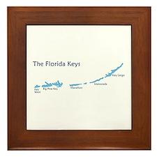 Florida Keys - Map Design. Framed Tile