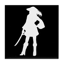 pirate silhouette dark square2 Tile Coaster