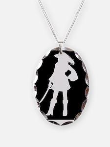 pirate silhouette dark square2 Necklace
