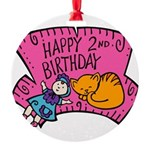 2nd-Birthday-02-[Converted].png Round Ornament