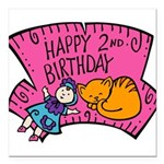 2nd-Birthday-02-[Converted].png Square Car Magnet