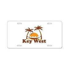 Key West - Palm Trees Design. Aluminum License Pla