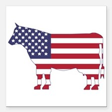 "US Flag Cow Icon Square Car Magnet 3"" x 3&quo"