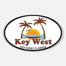 Key West - Palm Trees Design. Sticker (Oval)