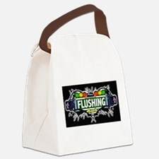 Flushing , Queens NYC (Black) Canvas Lunch Bag