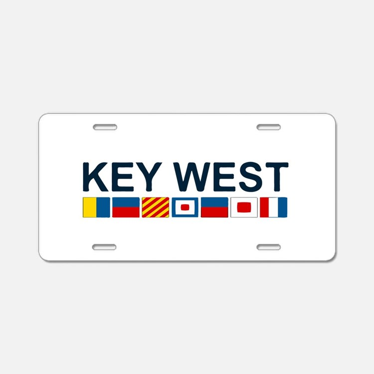 Key West -Nautical Flags. Aluminum License Plate