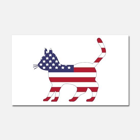 US Flag Cat Icon Car Magnet 20 x 12