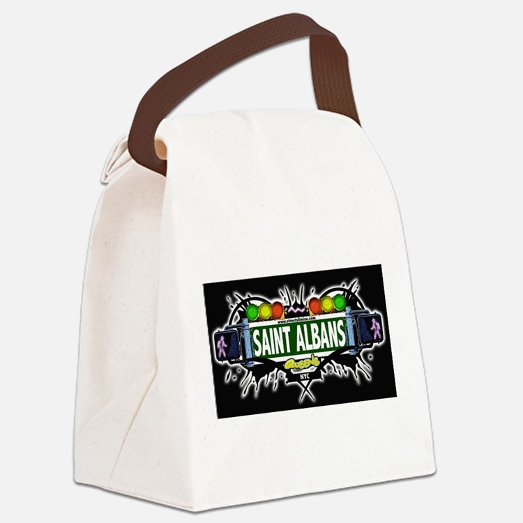Saint Albans Queens NYC (Black) Canvas Lunch Bag