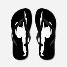 Karate Girl Black White Flip Flops