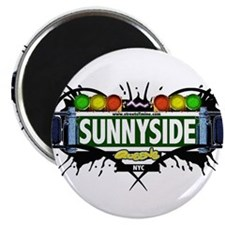 """Sunnyside Queens NYC (White) 2.25"""" Magnet (100 pac"""