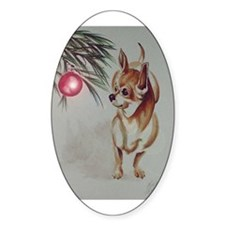 Christmas Chihuahua Oval Decal