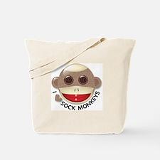 I Heart Love Sock Monkey Monkeys Tote Bag